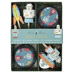 Robot Astronaut Cupcake Cases and Toppers (Set of 24)