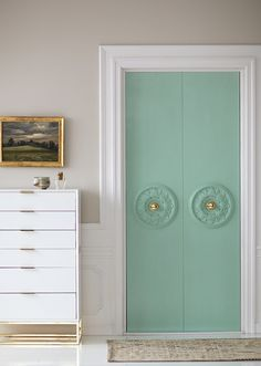 Clever Home Hacks For Decor Lovers: Dress Up Plain Doors - The secret? Ceiling medallions! Here's how to replicate this elegant look.