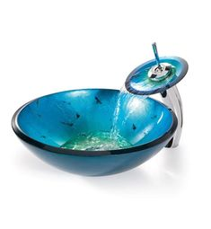 Kraus Galaxy Blue Irruption Glass Round Single Bowl Vessel Bathroom Sink with Waterfall Faucet With Finish: Chrome – Galaxy Art