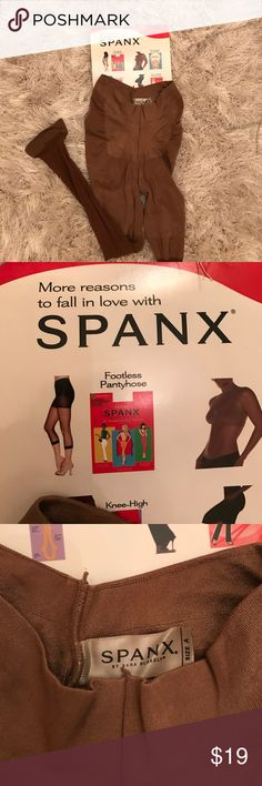 SPANX luxe leg footless tights New never been worn luxe footless tights in chestnut color. Opaque all day and all night shaping. Built in shaper flattens stomach firms butt & thighs. You can wear them under your pants they won't show or with higher hemlines. All spanx products are amazing and this is no exception! SPANX Pants Leggings