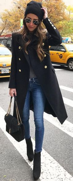 #winter #fashion /  Black Coat + Skinny Jeans
