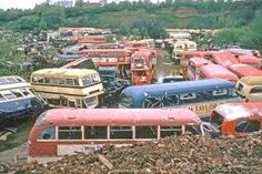 Scrapyard of buses. Abandoned Cars, Abandoned Places, Abandoned Vehicles, London Transport, Public Transport, Rt Bus, Car Barn, Routemaster, Rust In Peace