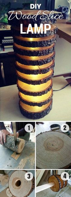 How to make a Wood Slice Lamp Neat project idea! # homedecorideas - DIY and DIY wood - How to draw one Wood Slice Lamp makes a decent project idea! Wood Projects For Beginners, Diy Wood Projects, Easy Woodworking Projects, Fine Woodworking, Woodworking Furniture, Woodworking Books, Popular Woodworking, Woodworking Basics, Intarsia Woodworking