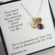 What a great gift for a future mother-in-law - Mother of the Groom Necklace,  Mother of the Groom Card, Anchor Gold necklace