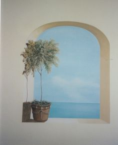 Trompe l'oeil view of the ocean