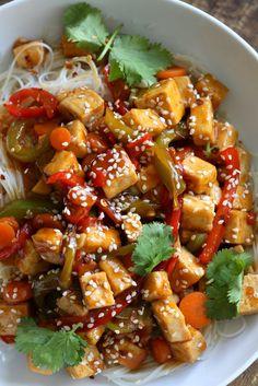 Sticky Ginger Sesame Tofu and Veggie stir fry with vermicelli or maifun noodles. Easy weekday Dinner. Vegan Gluten-free nut-free Recipe. Use chickpeas or more veggies to make Tofu-free | VeganRicha.com