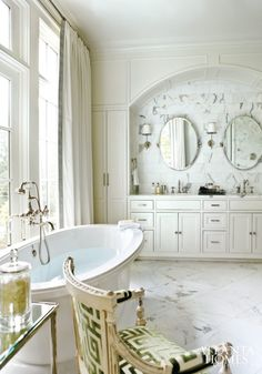We love a glamorous bath, and a freestanding tub is one of the most fabulous additions we can imagine. Take a peek at these relaxing spaces!