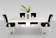 Versus Mia - White Lacquer Modern White Dining Table