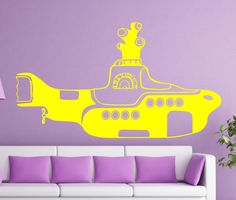 THE BEATLES Yellow Submarine decal sticker wall music beautiful boys bedroom Modern livingroom bathroom washroom nursery room wall decal 57 by ALLSTICKERS on Etsy https://www.etsy.com/listing/210475721/the-beatles-yellow-submarine-decal