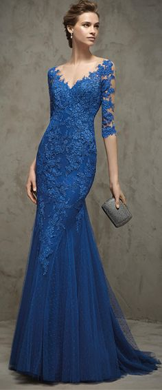Long Blue 3/4 Length Sleeves Lace Tulle Illusion Neckline Prom Evening Dresses