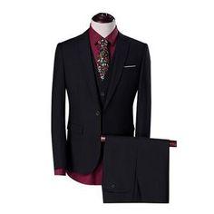 Mens Solid 3-Piece Suit Slim Fit Notch Lapel One Button Tuxedo Blazer Jacket  Pants Vest Set 676455173e