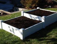 4 x 8 Split Level White Vinyl Raised Planter Bed