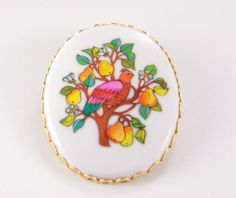 Enamel Bird and Pears Brooch Signed Hallmark Cards Vintage Large Oval Collar Pin