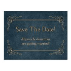 Navy Blue Chalkboard Tan Swirls Save The Date | Postcard - save the date gifts personalize diy cyo