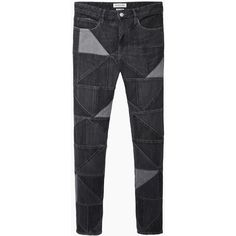Isabel Marant Étoile Dillon Patchwork Jean ($270) ❤ liked on Polyvore featuring jeans, pants, bottoms, trousers, patchwork jeans, relaxed fit straight leg jeans, zipper jeans, faded black jeans and relaxed straight leg jeans