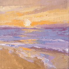 """""""Sunset Twelve"""" 4"""" x 4"""" palette knife oil on canvas panel with mini easel for easy display."""