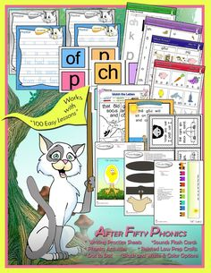 "Supplemental worksheets and crafts from Glimmercat Education for ""Teach Your Child to Read in 100 Easy Lessons"""