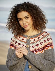 Our felted-style Sirdar Girlfriend yarn gives a fuzzy, soft focus effect to this top down fair isle cardigan with rib trims. With chunky colour-work around the yoke this stocking stitch cardigan is an ideal project for intermediate knitters. Ladies Cardigan Knitting Patterns, Knit Patterns, Knit Cardigan, Yarn For Sale, Fair Isle Pattern, Yarn Shop, Crochet Hook Sizes, Chunky Yarn