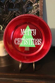 Merry Christmas Decorative Plate by ImpressionsbyBritt on Etsy, $12.50