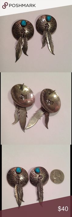 """Vintage Sterling NA Concho earrings Vintage Native American earrings, sterling silver conchos with turquoise stones in sawtooth setting, with a dangling set of sterling silver feathers. The conchos have a lovely hand stamped pattern, and the feathers have lots of great detail, edges of feathers are a little sharp. Total length 2"""" and 1"""" at widest point. They have soldered sterling silver posts and the bar the feathers are hanging off of.  Good vintage condition with some patina. Test…"""