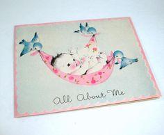 Vintage Baby Card, Birth Announcement, New Baby, Blue Birds. $4.00, via Etsy.