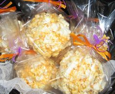 Kids in the Kitchen – Old Fashioned Halloween Popcorn Balls...to make for Jackson's class. Love how they used baggies and simple orange/purple ribbon.