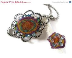 CIJ SALE Felt necklace pendant and flower ring set. Wool, glass acrylic beads, blue, pink, turquoise, violet, purple green. Gifts under 25 on Etsy, $21.17