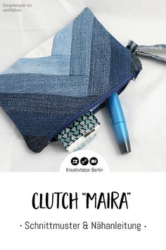 """New sewing pattern: Clutch """"Maira"""" in two variants - Berlin creative laboratory - Sewing pattern & sewing instructions clutch """"Maira"""" - Denim Clutch Bags, Diy Clutch, Denim Bag, Denim Clutches, Clutch Purse, Diy Jeans, Recycle Jeans, Jean Diy, Best Leather Wallet"""