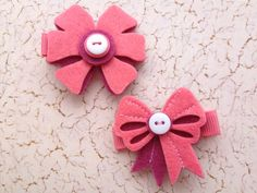 Shades of Rose Felt Bow Hair Clip Set for Baby or Girl by PunkyPunkinCreations, $3.00