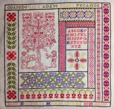 A Spanish-styled Adam & Eve sampler by Robert Fulghum of Beyond Just Cross Stitch