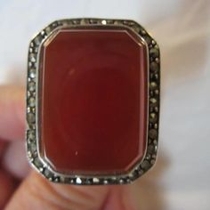 Exquisite Art Deco Carnelian Marcasite Superior Quality Sterling Silver Ring