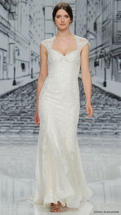justin alexander spring 2017 cap sleeves queen anne neckline beaded bodice sheath wedding dress (h8860) mv