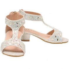523c922d6ff7 Bella Marie Little Girls Silver Stone Encrusted T-Bar Sandals 9-10 Toddler  Silver