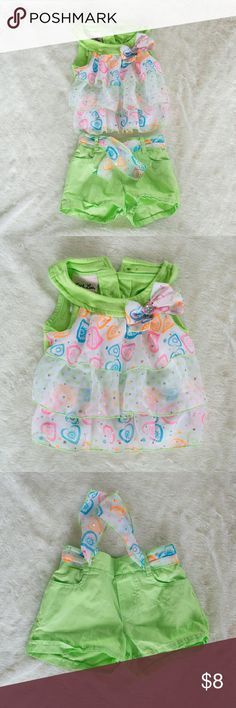 Cute 2 piece Super cute summer outfit. Was new but my baby took pictures in it. Washed once, Says 18 months but fit my 9 month Little Lass Matching Sets