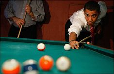 Barack Obama played a game of pool during a stop at Schultzie's Billiards in W.Va. (Photo: Mark Wilson/Getty Images)