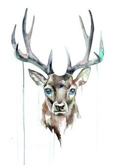 Deer Watercolor Print - Watercolor Art Poster - Animal Watercolor Print - Deer…