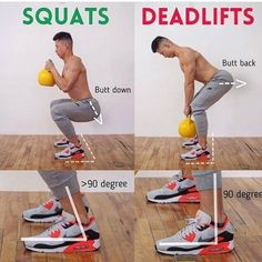 SQUAT VS DEADLIFT which one should you choose? Squats will work your quads, glutes, and hamstrings. Deadlifts will touch upon all of those muscles but will also hit your entire back, traps, and arms. You should not view the deadlift as similar to the squat. A lot of people try to squat the weight off the ground which wastes a lot of energy and limits the weight you can lift. As this image shows, your butt should go down to start a squat but it should go back to begin a deadlift.