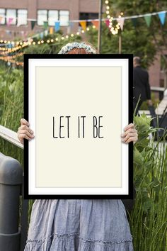 "Inspirational Print ""Let It Be"" Beatles Lyrics Handwritten Style Typographic Art Print Wall Decor Poster on Etsy, $12.00"