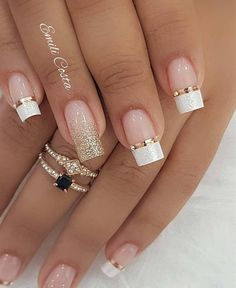 100 Beautiful wedding nail art ideas for your big day - wedding nails bride nails nail art romantic nails pink nails inspiration Gorgeous Nails, Pretty Nails, Cute Nails, Fabulous Nails, Beautiful Nail Art, Simple Nail Art Designs, Winter Nail Designs, Hair And Nails, My Nails