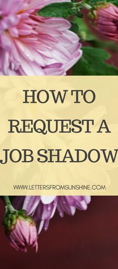 How to Request a Job Shadow | Many students want to make sure tat their career path is the right one for them, but how do you figure that out? Job shadows! Find out how to request one with this post.