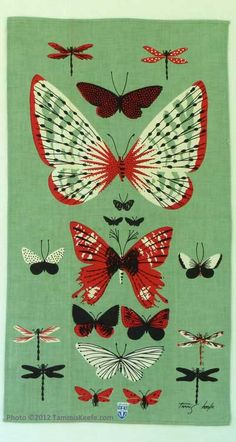 Butterflies, Nile Green by Tammis Keefe