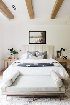 ModernBedroom with natural wooden Beams Modern Lakehouse by Studio McGee Home Decor Bedroom, Bedroom Furniture, Bedroom Ideas, Bedroom Designs, Grey Furniture, Bedroom Inspiration, Bedroom Apartment, Rustic Furniture, Furniture Design