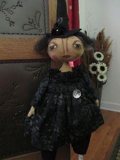 Primitive Folk Art Witch Doll, Halloween, OOAK, Artist #NaivePrimitive #Artist