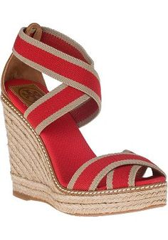 f481ab495 Tory Burch - Adonis Stripe Wedge Espadrille Red Khaki Canvas Striped  Wedges