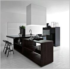 Black White Minimalist Kitchen Island