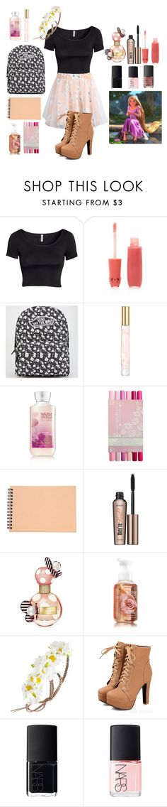 """""""Rapunzel"""" by glitter-and-mermaids ❤ liked on Polyvore featuring H&M, Forever 21, Vans, Marc Jacobs, Muji, Benefit and NARS Cosmetics"""
