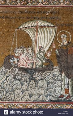 Jesus saving St. Peter on a boat in the sea, Byzantine gold ground mosaics, Cathedral of Santa Maria Nuova, Monreale Cathedral Stock Photo