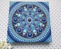 Works of art possess a powerful and magical energy by Mandala Art, Mandala Canvas, Mandala Painting, Mandala Pattern, Mandala Design, Pattern Art, Dot Art Painting, Painting Patterns, Stone Painting
