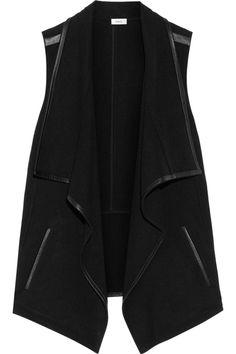 Vince | Draped leather-trimmed stretch-felt vest | NET-A-PORTER.COM