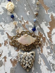 Vintage Assemblage Necklace Mother of Pearl Repurposed Art